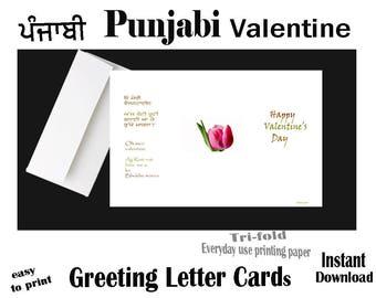 PUNJABI Valentine, Instant Download, Printable, Valentine Greeting LETTER Card, Punjabi Funny card, Valentine Day, Digital Punjabi Valentine