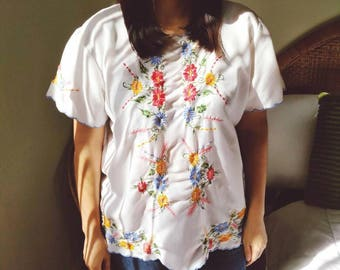 1970s Mario de la Peña Originals embroidered Mexican blouse.