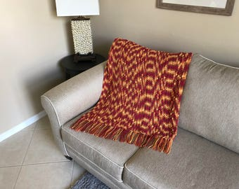 Burnt Orange and Yellow Popcorn Triangles Afghan w/ Tassels