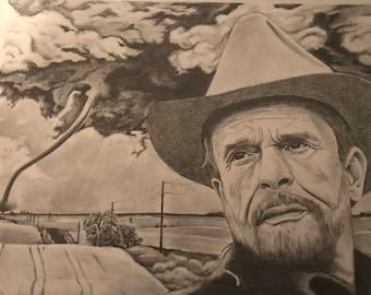 Original Artwork,Momma tried, Merle Haggard, Tornado pencil drawing