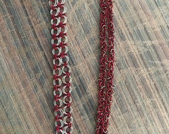Red and Gold Chainmaille Bracelet