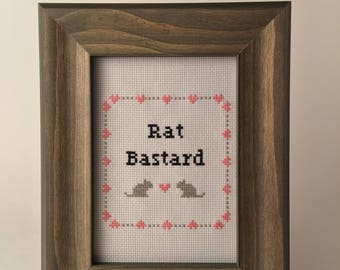 Rat B*stard 5x7 Framed Cross Stitch