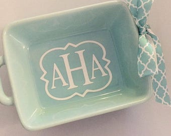 Mint Trinket Dish with handles and Bow