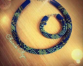 Burn Blue Navy Bead Jewelery Set Handmade Jewelry Gift for Girl Jewelry