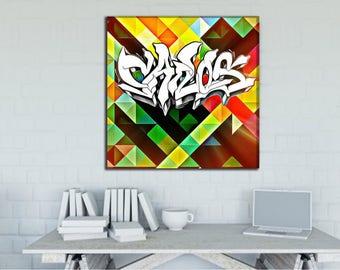 Carlos  -  Custom Graffiti Name Sign, Graffiti Art Canvas Print, Personalized Canvas Wall Art, Abstract Graffiti Canvas