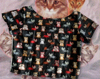 Cats and sushi themed crop top // Multiple Prints available