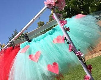Tutu Skirt - One solid color with Heart patterns