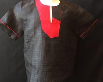 Black Linen Men's Top, Ankara fabric, Men's Black Top, Casual Men's Top