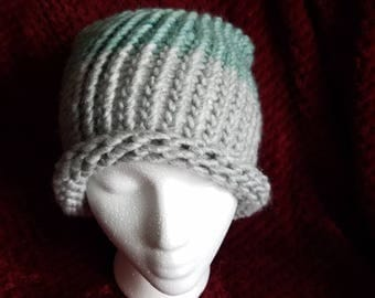 Teal & Gray Slouchy Hat