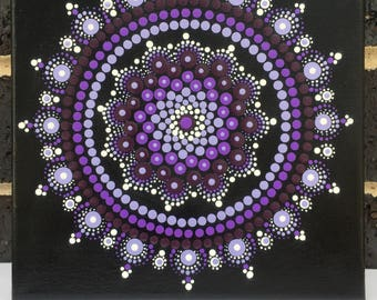 Mandala #A006 8X8  Hand Painted Mandala Canvas Dot Art
