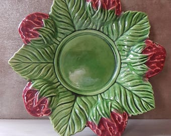 Small plate 80s - Cup - Strawberry - Vintage