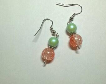 Green & Coral Drop Earrings