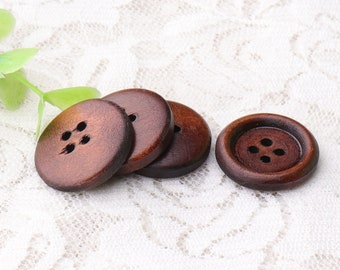 wooden buttons 10pcs 21mm 4 holes sewing buttons dark brown round wood buttons shirt coat buttons
