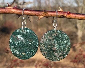 Moss Agate, sterling silver, earrings
