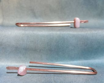 Pink Peruvian opel and copper threader earring