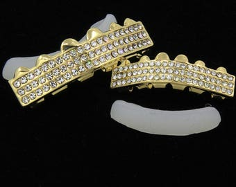 New Custom Fit 14K Gold 3 Row Iced Out GRILLZ CZ Top & Bottom Set Teeth Hip Hop Bling Grill