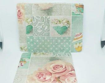 Coasters set of four pastel cake roses decoupaged