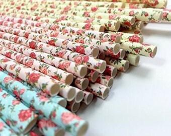 Floral Rose Vintage Paper Straw / Pailles Vintage en papier