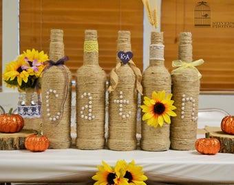 Customized name twine wrapped bottles