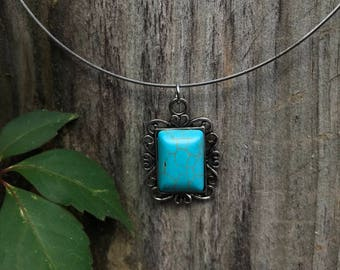 Turquoise Stone pendant with silver necklace