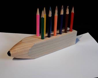 Wooden coloured pencil block