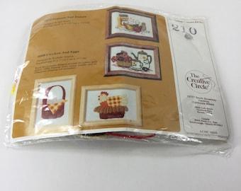 Vintage Creative Circle Embroidery Kit,Popcorn Donuts,210,Wool Yarn,Apple,Coffee,Craft Kit,DIY