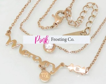 Virgo/Mercury - Rose Gold Layered Necklace with Cubic Zirconia