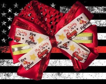Daddy's a Firefighter Bunker Gear Stripe Baby Headband Hair Bow
