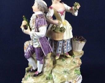 """Antique Meissen Figure Group Autumn season Harvest Marcolini Period 16.5cm 6.5"""""""