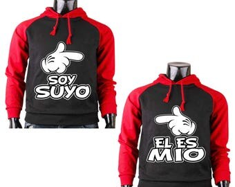 Two Color Hoodies for Couple Soy Suyo Disney Mickey Hand and El Es Mio Minnie Hand Raglan Black-Red Couple Goal Shirts
