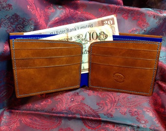 Bifold leather wallet handmade