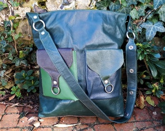 Funky Leather Cross Body Bag / Shoulder Bag / Satchel -  100% Handmade from recycled leather
