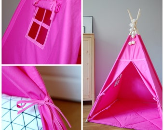 Teepee Set with floor mat #Tipi Pink style #Play tent