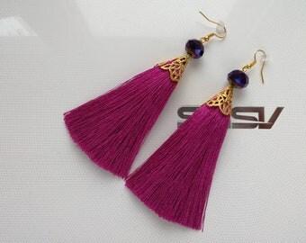 Earrings tassels, earrings of color ultra violet, fashion earrings with silk tassels,long earrings,earrings as a gift,earrings pink