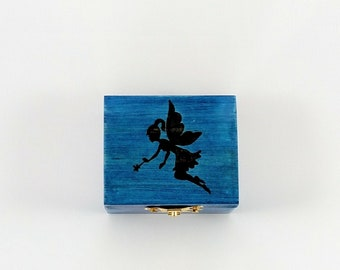 Blue Fairy Hand Burned Trinket Box