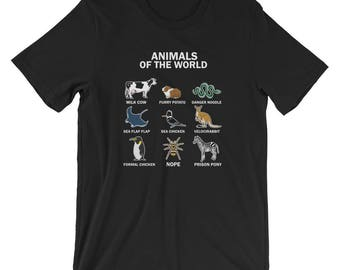 Funny Animals Of The World Names T-shirt