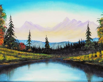 River landscape late summer oil on canvas painting unique signed