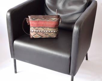 Kilim Bag-009 Front Side Kilim Back Side Leather Handbag Vintage Kilim Rug Bohemian Bag Boho Bag Hippie Bag