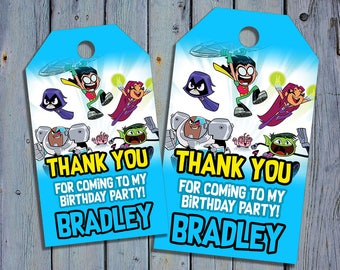 Teen Titans Birthday Thank You Tags, Superhero Favor Tag, Teen Titans Go Printable Digital Labels, Robin Goody Bag Tags, Hang Label Tags