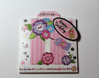 handmade 4x4 present reveal happy birthday greeting card, flower, pink, unique, foiled