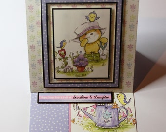 unique handmade cute teddy bear gardening easel card, flowers, birds, any occasion