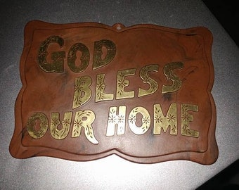 """Vintage Wall Plaque """"God Bless Our Home"""""""
