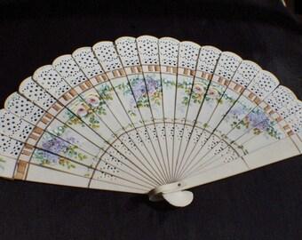 Fantastic handpainted fan in celluloid
