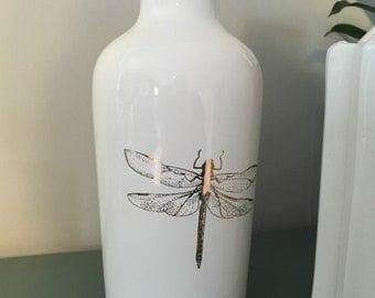 White dragonfly vase