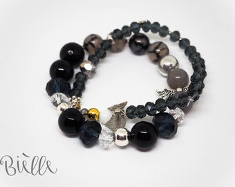Unique beaded set of two bracelets in Grey/Black by Bielle | Women's accessories | Fashion | Style