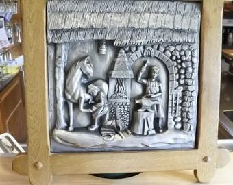 tin art blacksmith with horse