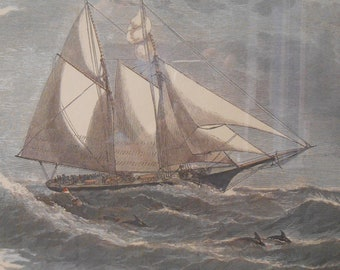 Two Sailboats at Sea Lithograph - Glass Framed with Double Matts
