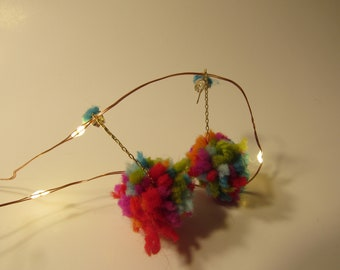 handmade rainbow pompom dangle earrings.