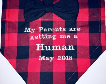 Gender Reveal, Dog Bandana, Buffalo Plaid, My Parents are getting me a Human, Baby Announcement, Over the Collar,  Dog gift, Christmas gift