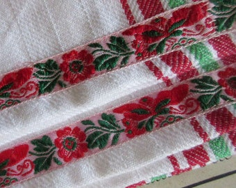 2 Czech Folkloric Trim Retro Kitchen Cotton Tea Towels Red And Green Stripes
